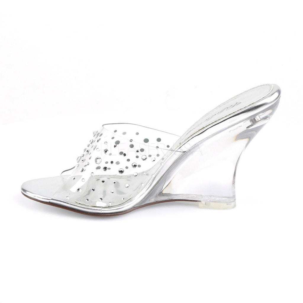 "FABULICIOUS Lovely-401RS Clear Rhinestone Slides Wedding 4"" Wedges Sandals Heels - A Shoe Addiction"