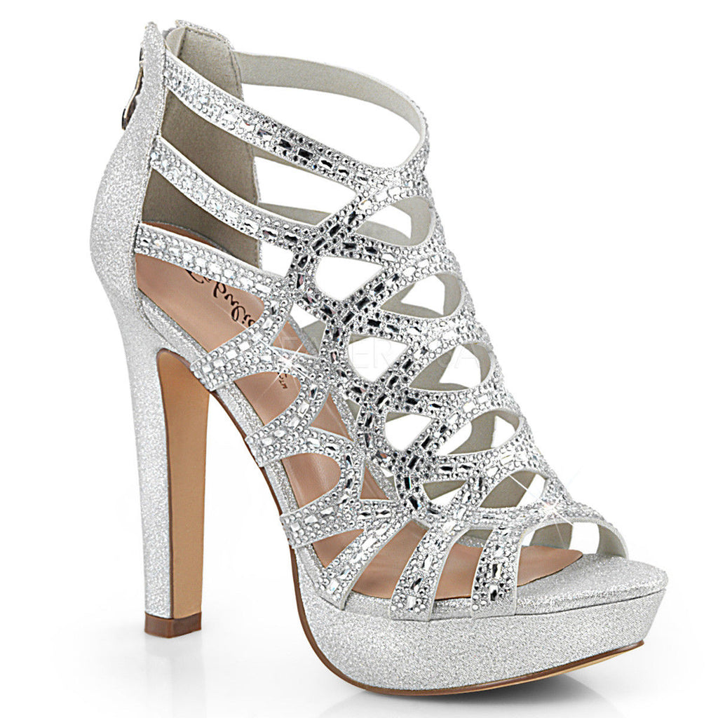 "Discontinued FABULICIOUS Selene-24 Shimmering Fabric Rhinestones Cutout Cage Dress 4.5"" Heels - A Shoe Addiction"