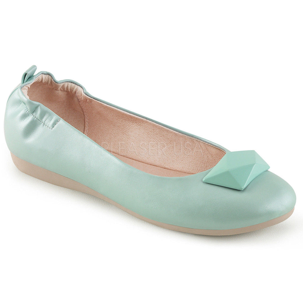 Discontinued PINUP COUTURE Olive-08 Aqua Pink Black Geometric Foldable Flats - A Shoe Addiction