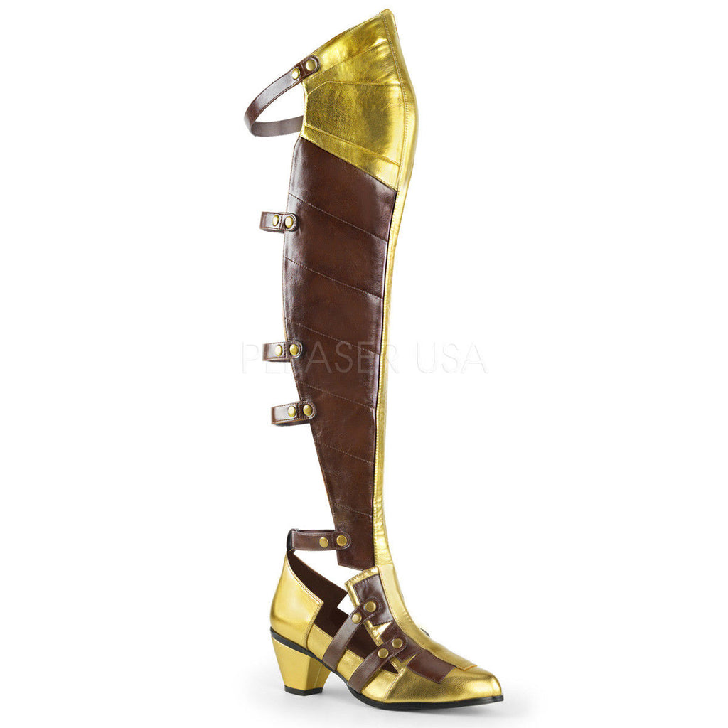 FUNTASMA Maiden-8830 Brown Gold Open Back Block Heels Costume Halloween Boots - A Shoe Addiction