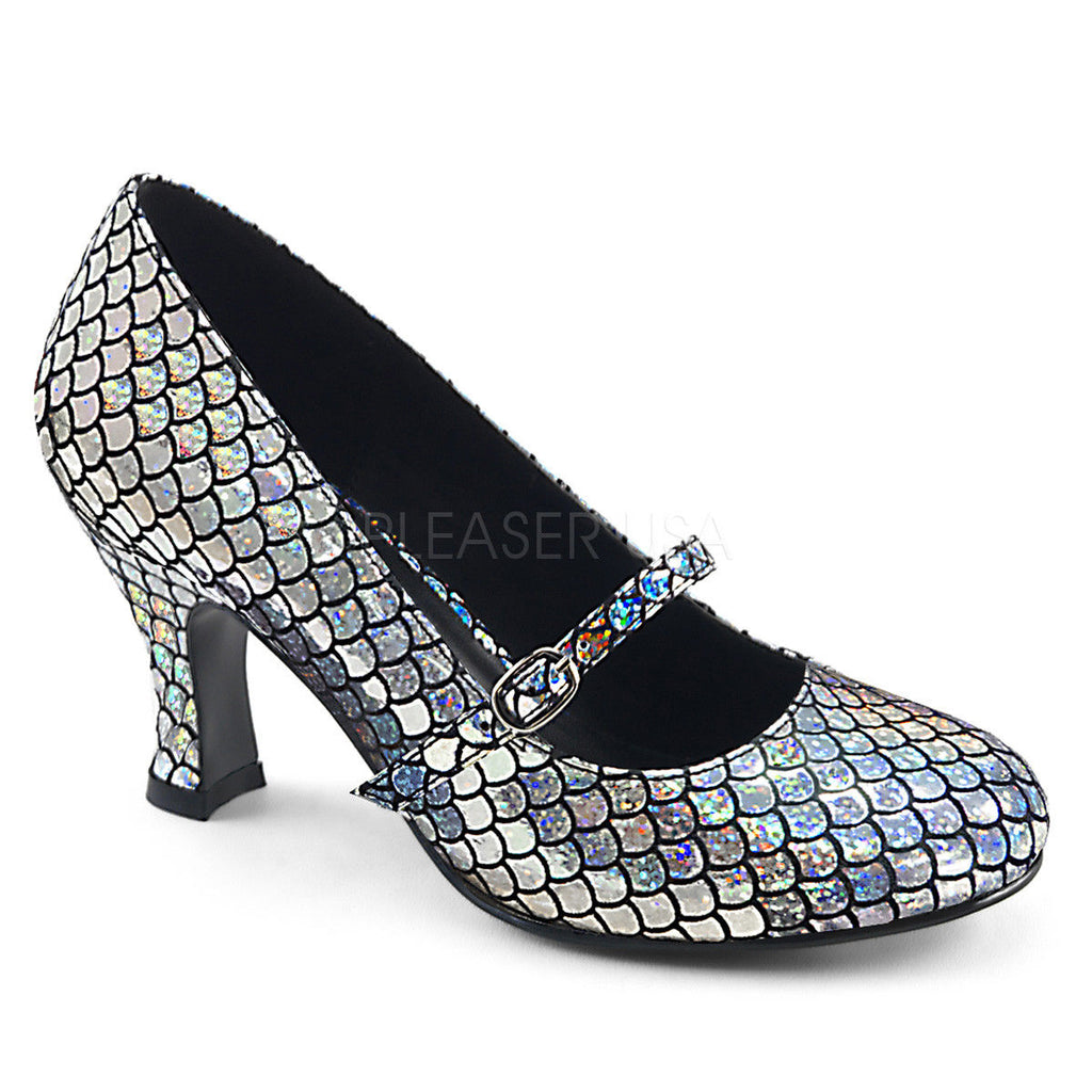"FUNTASMA Mermaid-70 Silver Green Mermaid Scales Mary Jane Costume Dress 3"" Heels - A Shoe Addiction"