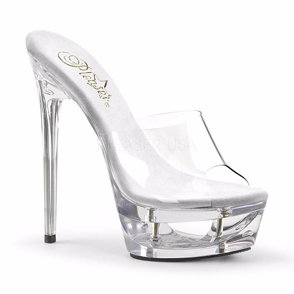 "PLEASER Eclipse-601 Clear See Through Cut Out Platforms Slides Mules 6.5"" Heels - A Shoe Addiction"
