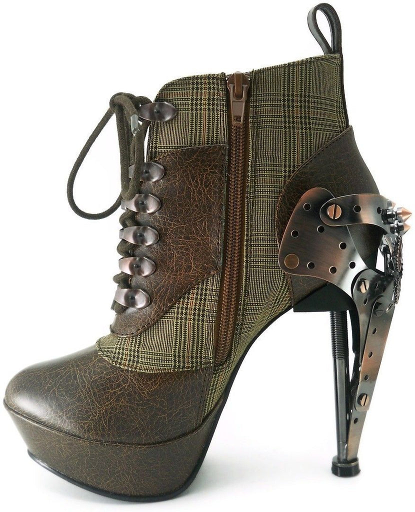 Discontinued HADES OXFORD Black Brown Steampunk Alternative Butterfly Gear Boots