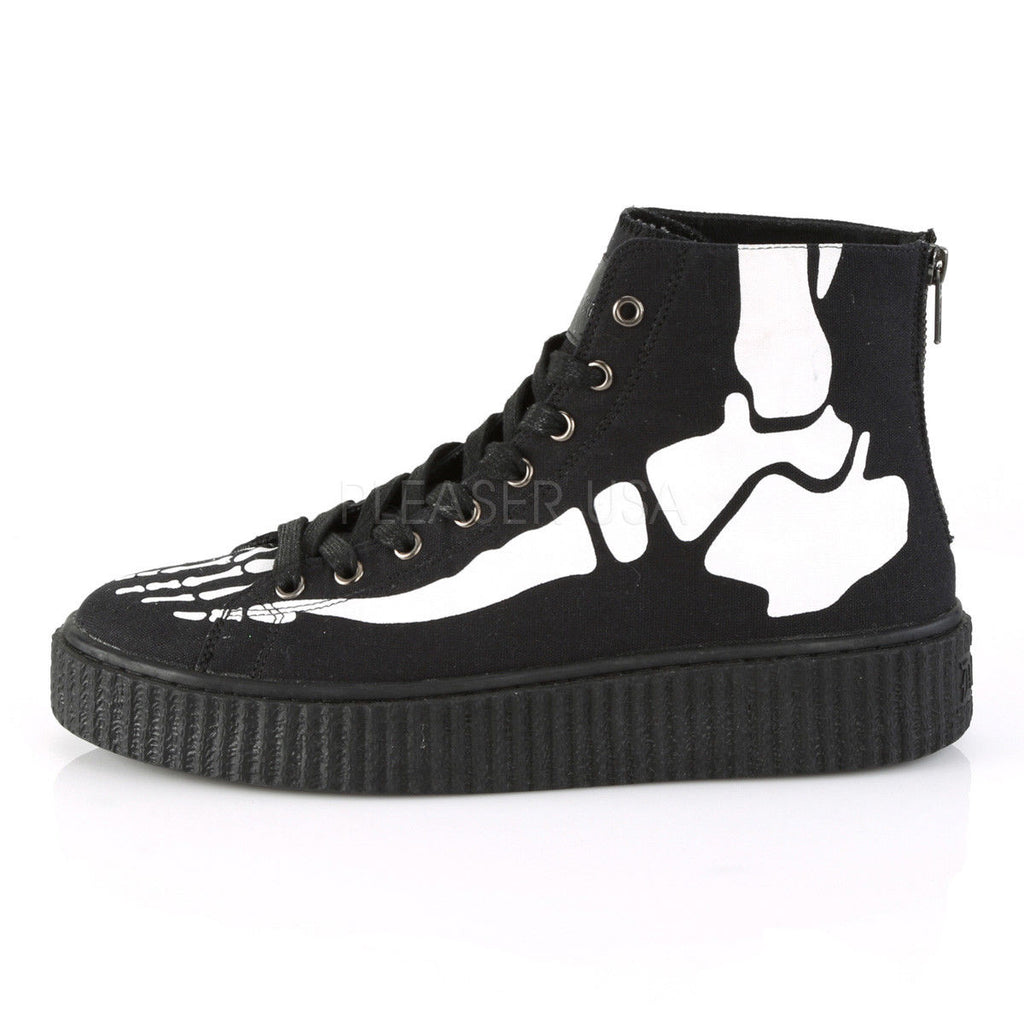 DEMONIA Sneeker-252 Men's Unisex Skeleton X-Ray Bone High Top Creeper Sneakers - A Shoe Addiction