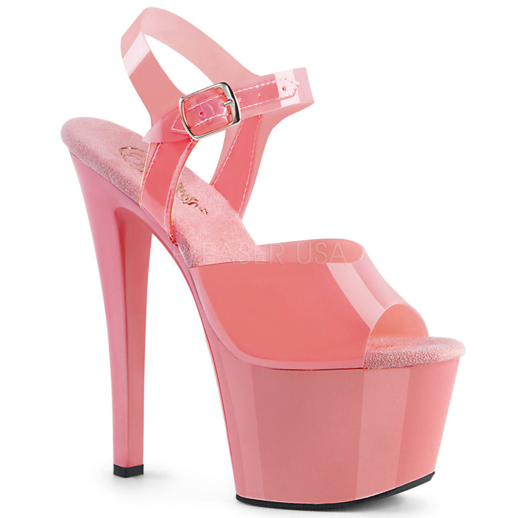 "PLEASER Sky-308N Pink Red White Cream Black Jelly Like TPU Pole Dancer 7"" Heels"