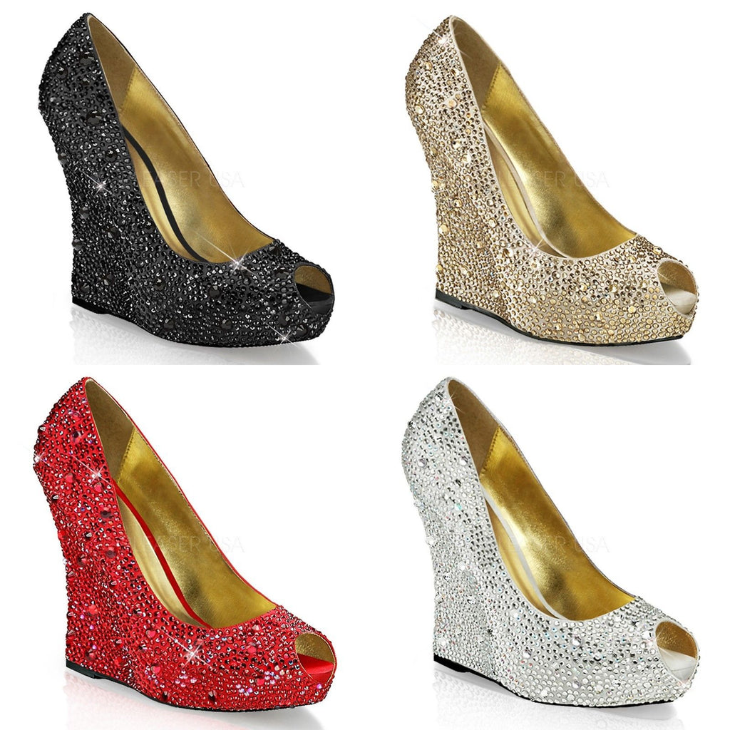 Discontinued FABULICIOUS Isabelle-18 Black Red Silver Champagne Rhinestone Wedge - A Shoe Addiction