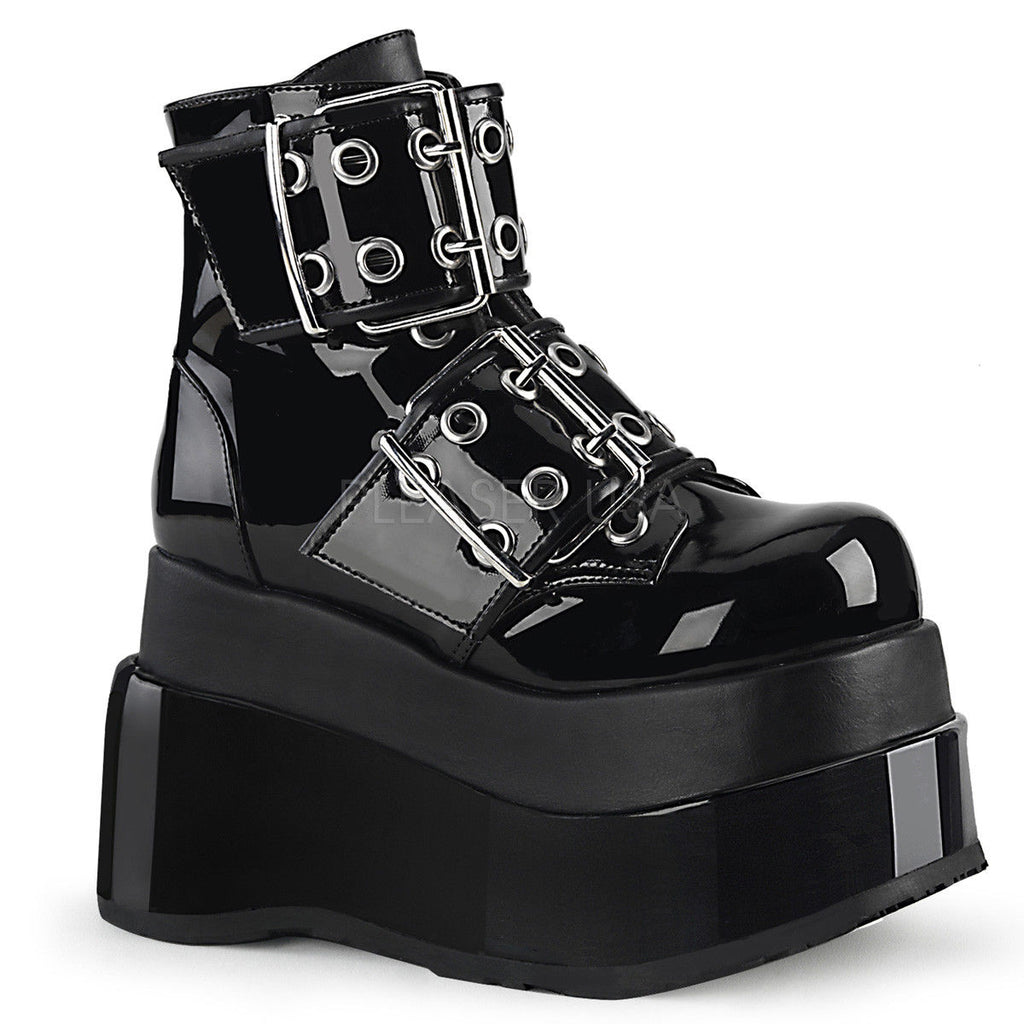 "DEMONIA Bear-104 Black Double Grommet Buckles Tiered 4.5"" Platform Ankle Boots - A Shoe Addiction"