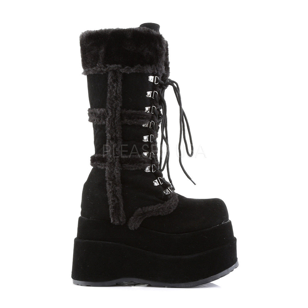 DEMONIA Bear-202 Black Vegan Suede Goth Barbarian Viking Cosplay Winter Boots - A Shoe Addiction