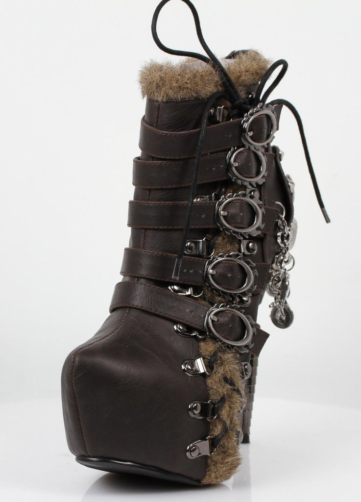 HADES ADLER Brown Faux Fur Spike Skull Charms Apocalyptic Goth Steampunk Boots