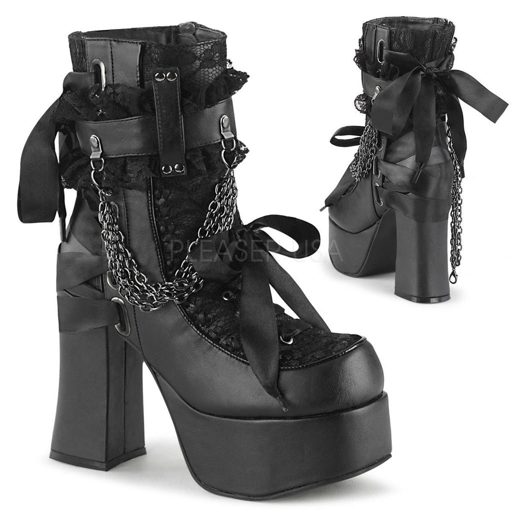 DEMONIA Charade-110 Black Goth Ribbon Lace Chains Thick Block Heel Ankle Boots - A Shoe Addiction