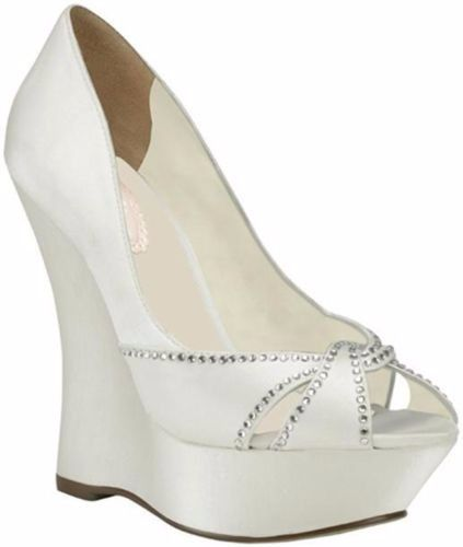IN STOCK - EXPRESS POST - Ivory White Satin Rhinestone Wedding Wedges Heels 5-12