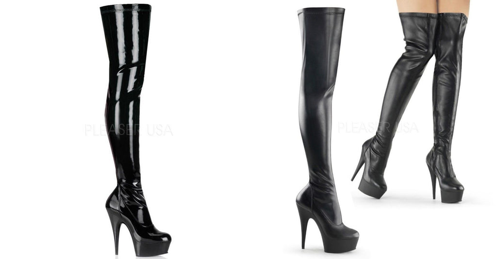 "PLEASER Delight-3000 Black Stretch Patent / Faux Leather Zip 6"" Thigh High Boots - A Shoe Addiction"