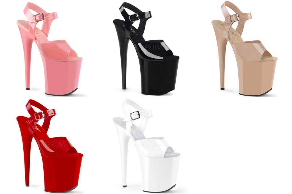 "PLEASER Flamingo-808N White Black Red Pink Cream Jelly TPU Pole Dancer 8"" Heels - A Shoe Addiction"