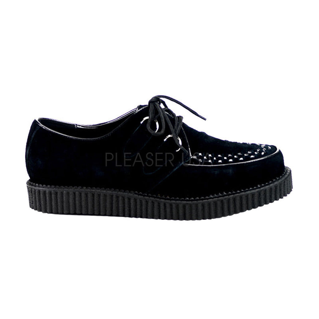 "DEMONIA Creeper-602S Black Suede Men's Mens Unisex Goth Punk 1"" Platform Shoes - A Shoe Addiction"