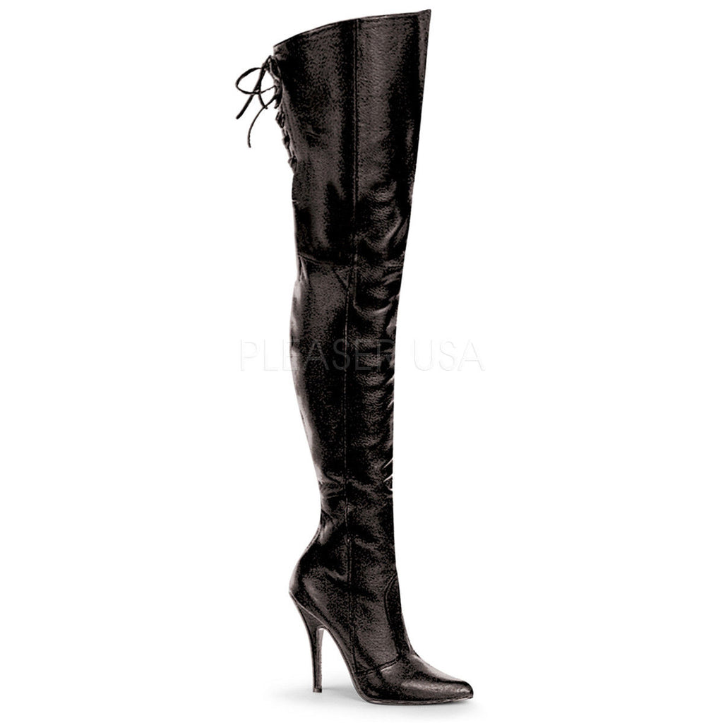 "PLEASER Legend-8899 Black Red Leather 5"" Heel Thigh High Boots Drag Women's 4-15 - A Shoe Addiction"