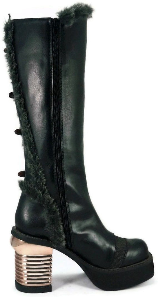 HADES LANGDON Black Brown Steampunk Goth Apocalyptic Metal Chrome Heels Boots