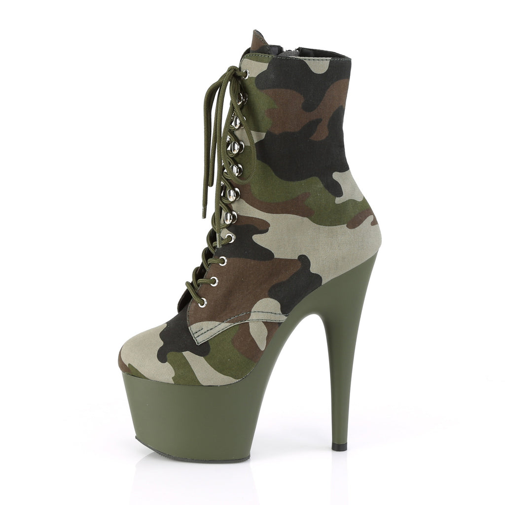 "PLEASER Adore-1020CAMO Green Camouflage Pole Dance Ankle Calf 7"" Platform Boots - A Shoe Addiction"
