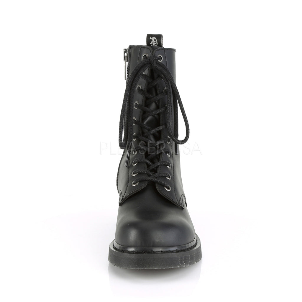 DEMONIA Bolt-200 Vegan Leather Mens Unisex Goth Rocker Biker Combat Boots - A Shoe Addiction