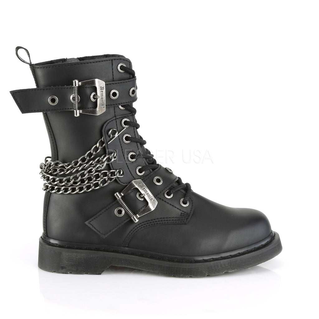 DEMONIA Bolt-250 Vegan Leather Mens Unisex Goth Rocker Biker Combat Boots - A Shoe Addiction