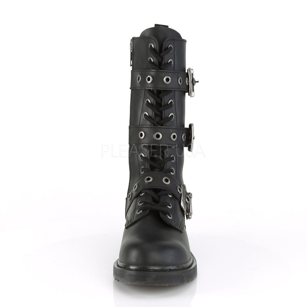 IN STOCK / SALE - DEMONIA Bolt-330 Black Vegan Leather Boots Men's 6 Women's 8 - A Shoe Addiction