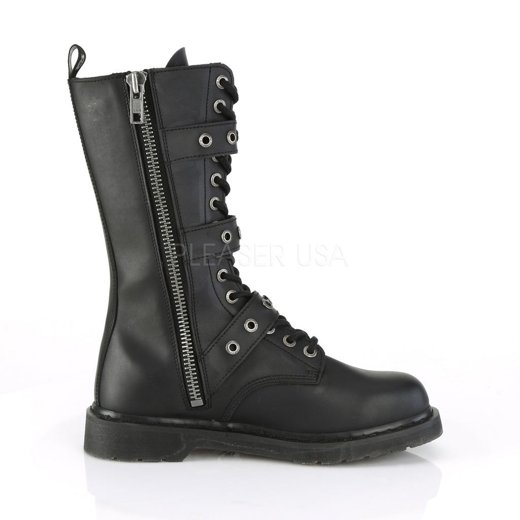 IN STOCK / SALE - DEMONIA Bolt-330 Black Vegan Leather Boots Men's 6 Women's 8