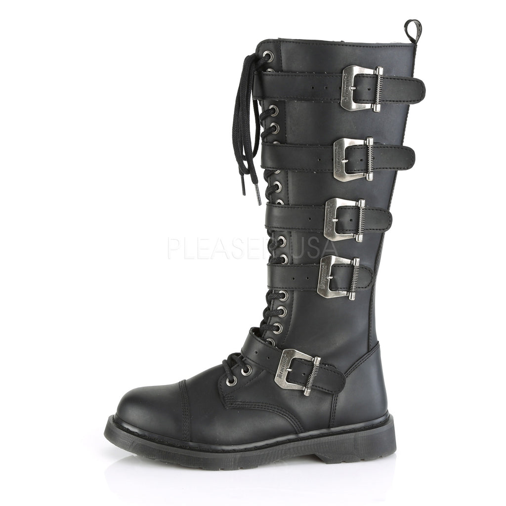 DEMONIA Bolt-425 Vegan Leather Mens Unisex Goth Rocker Biker Combat Boots - A Shoe Addiction