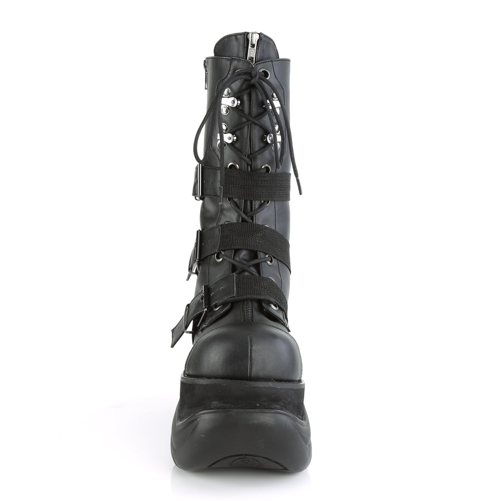 DEMONIA Boxer-230 Men's Unisex Nylon Strap Goth Rocker Cyber Platform Calf Boots - A Shoe Addiction
