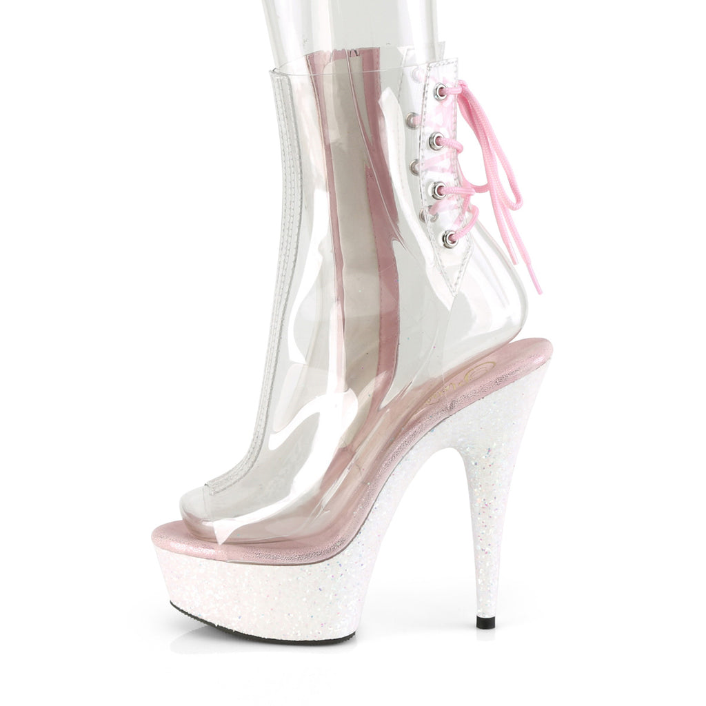 PLEASER Delight-1018C Clear Opal Glitter Pole Club Peep Toe Platform Ankle Boots - A Shoe Addiction