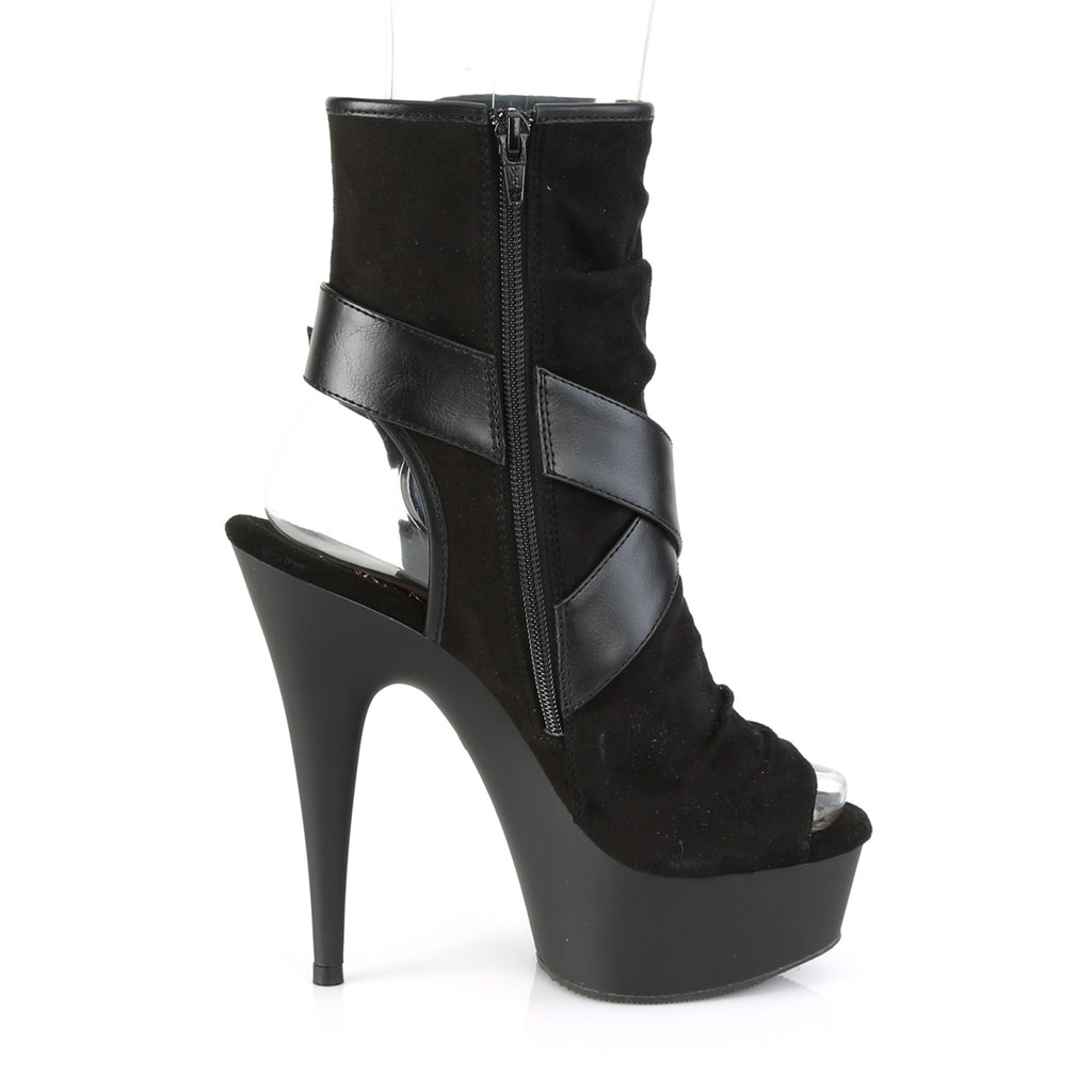 PLEASER Delight-1034 Faux Suede Leather Slouch Cross Straps Peep Toe Ankle Boots - A Shoe Addiction