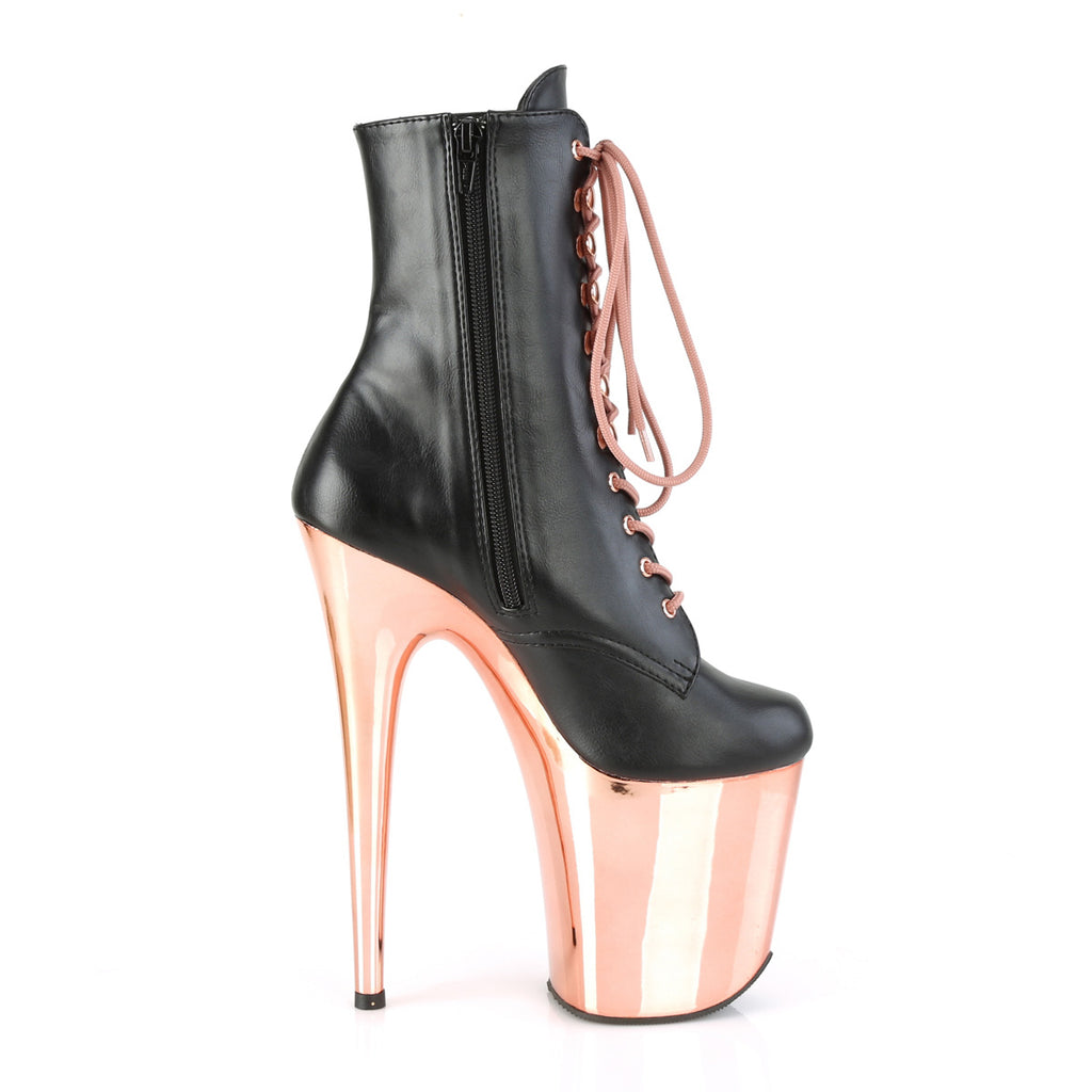 "PLEASER Flamingo-1020 Red Rose Gold Chrome Stripper Pole Club Ankle 8"" Boots - A Shoe Addiction"