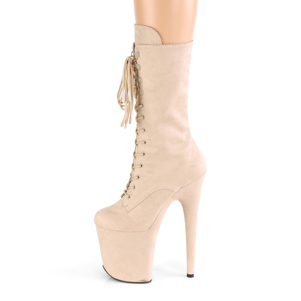 "PLEASER Flamingo-1050FS Faux Suede Dancer Stripper 4"" Platform 8"" Heels Boots - A Shoe Addiction"
