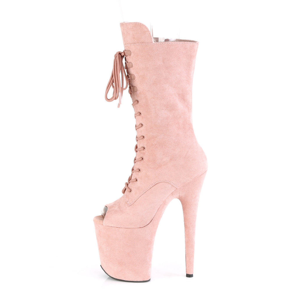 "PLEASER Flamingo-1051FS Faux Suede Dancer Stripper 4"" Platform 8"" Heels Boots - A Shoe Addiction"