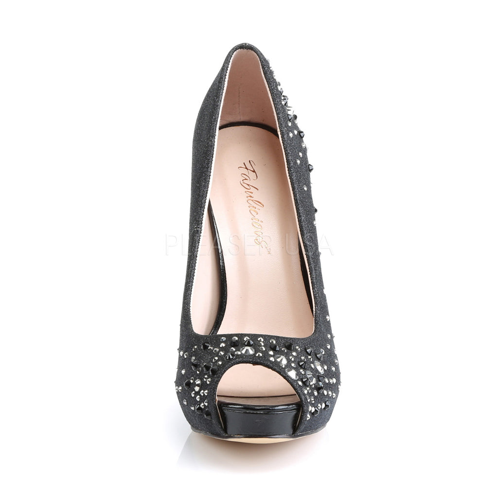 IN STOCK / SALE - Fabulicious Heiress-22R Black Rhinestone Dress Heels AU Size 5