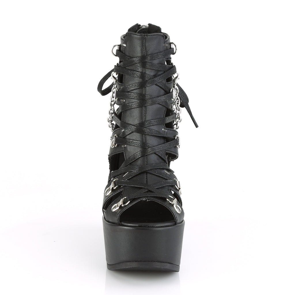 DEMONIA Poison-95 Goth Pentagram Charm Cage Bootie Strappy Bondage Wedge Heels - A Shoe Addiction