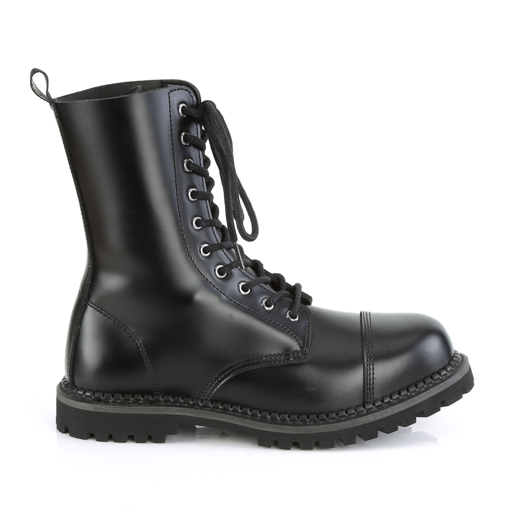 DEMONIA Riot-10 Black Real Leather Mens Unisex Goth Rocker Biker Combat Boots - A Shoe Addiction