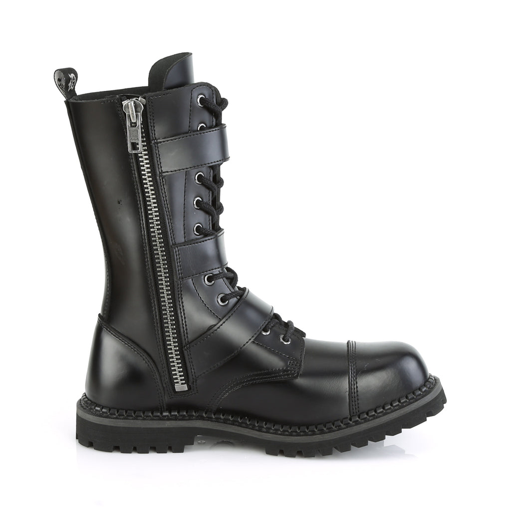 DEMONIA Riot-12BK Black Real Leather Mens Unisex Goth Rocker Biker Combat Boots - A Shoe Addiction