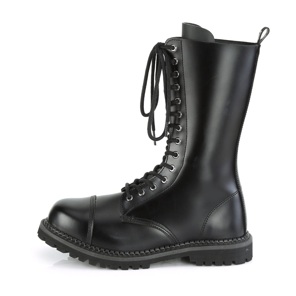 DEMONIA Riot-14 Black Real Leather Mens Unisex Goth Rocker Biker Combat Boots - A Shoe Addiction