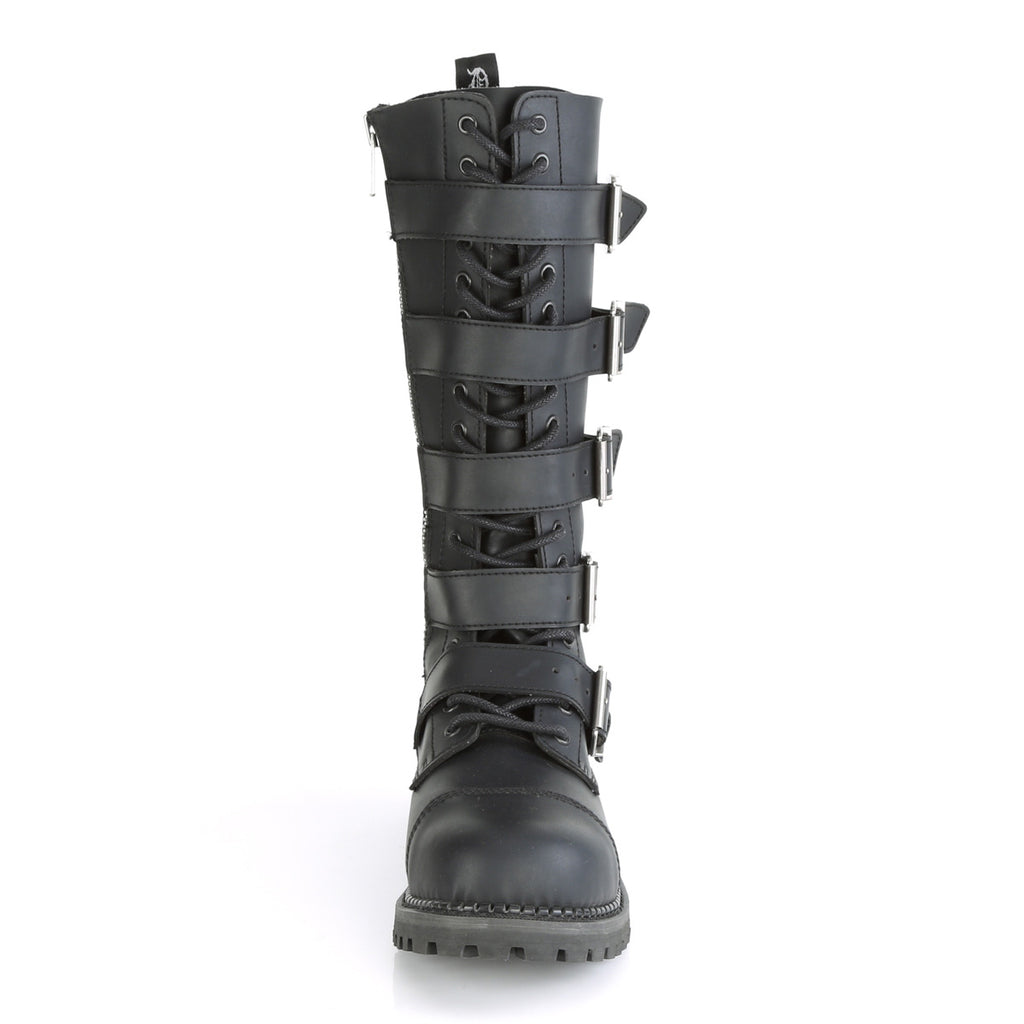 DEMONIA Riot-18BK Black Real Leather Mens Unisex Goth Rocker Biker Combat Boots - A Shoe Addiction