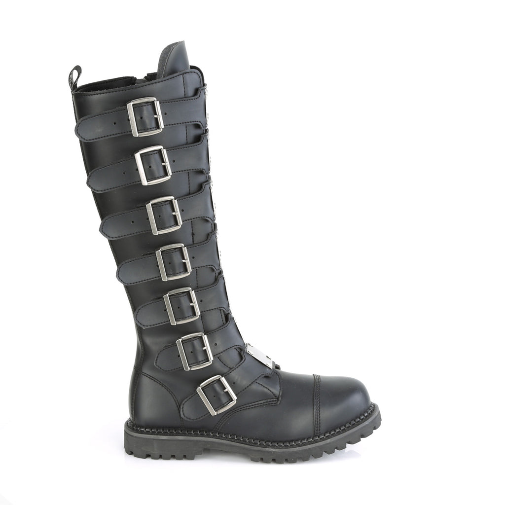 DEMONIA Riot-21MP Black Real Leather Mens Unisex Goth Rocker Biker Combat Boots - A Shoe Addiction