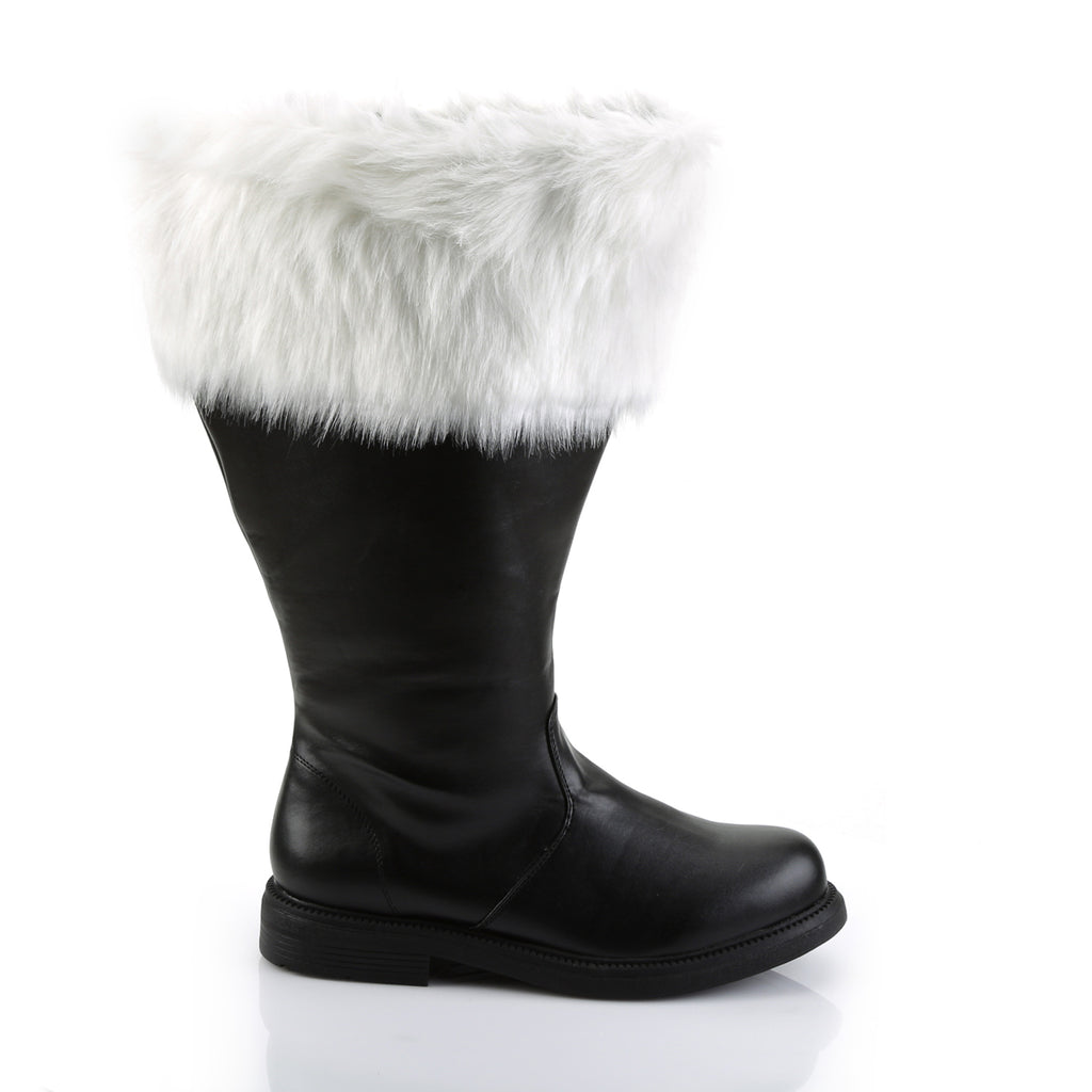 FUNTASMA Santa-106WC Black Faux Fur Wide Calf Men's Santa Claus Costume Boots - A Shoe Addiction
