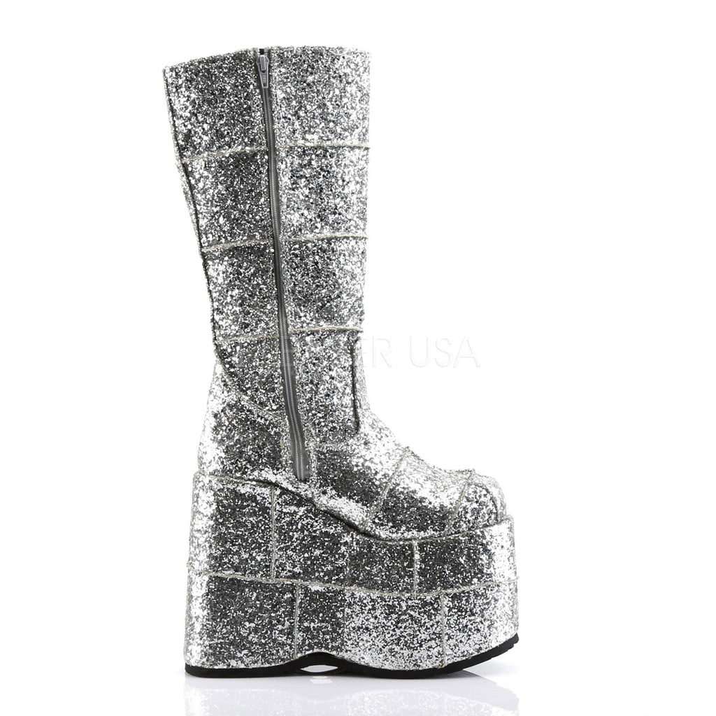 "DEMONIA Stack-301G Glitter Men's Unisex Goth Punk Cyber 7"" Platform Knee Boots - A Shoe Addiction"
