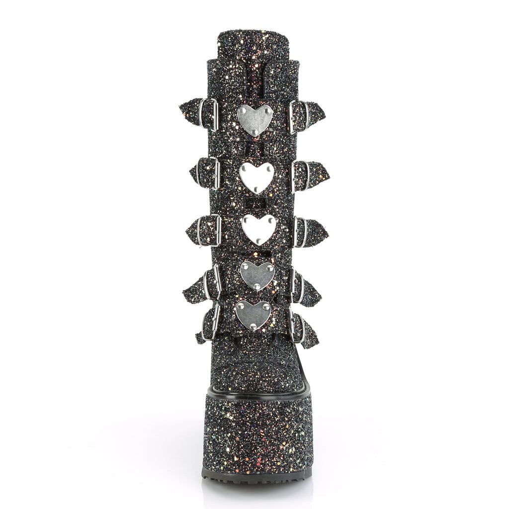 DEMONIA Swing-230G Glitter Metal Heart Plates Festival Club Platform Wedge Boots - A Shoe Addiction