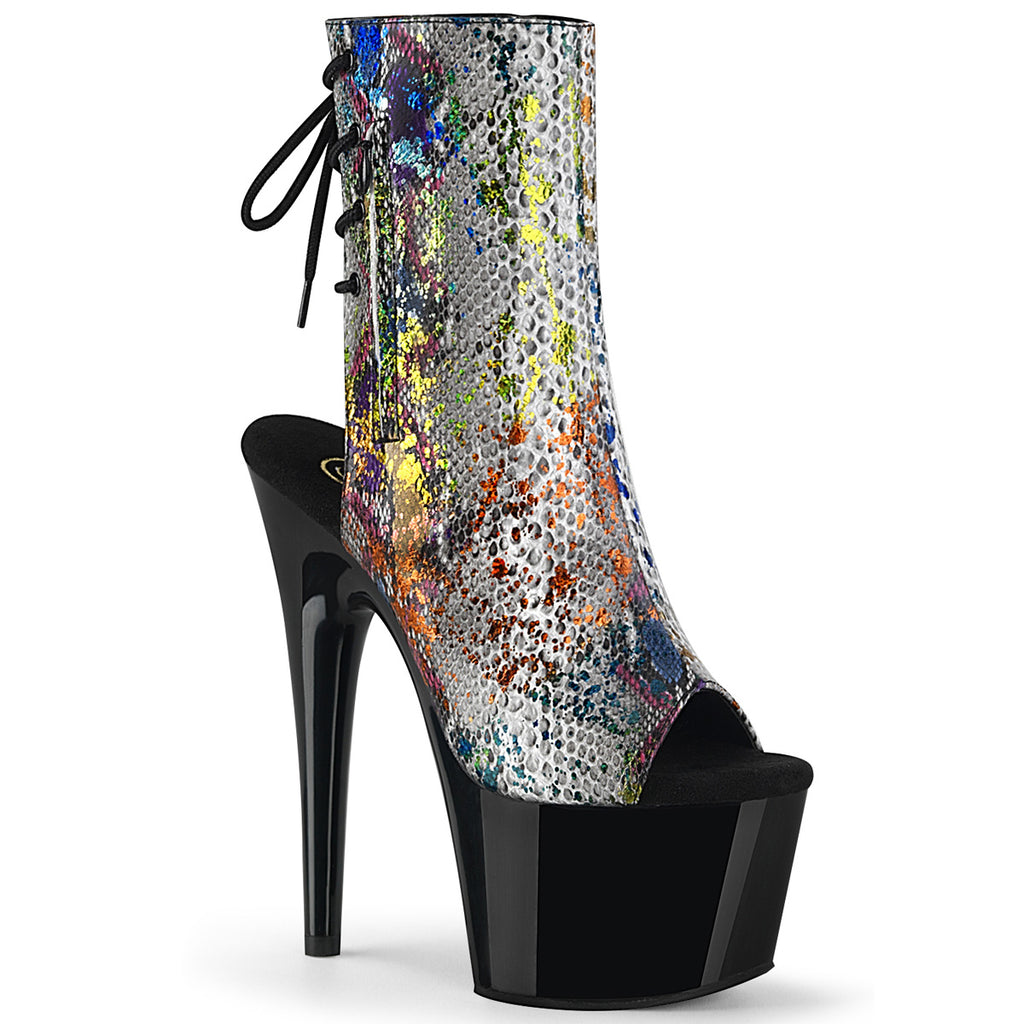 PLEASER Adore-1018SP Multi Colour Snake Print Open Toe Platform Club Boots