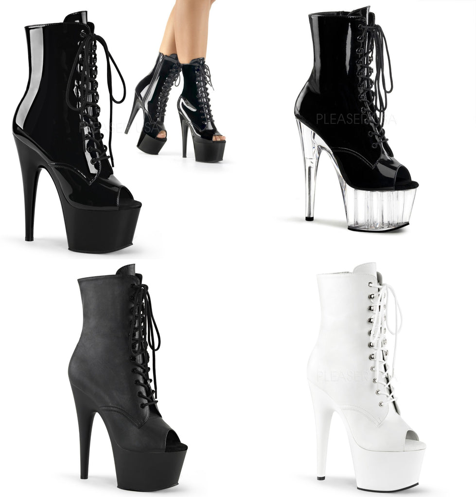 "PLEASER Adore-1021 Stripper Pole Dancer Club Platforms Ankle Calf Boots 7"" Heels - A Shoe Addiction"