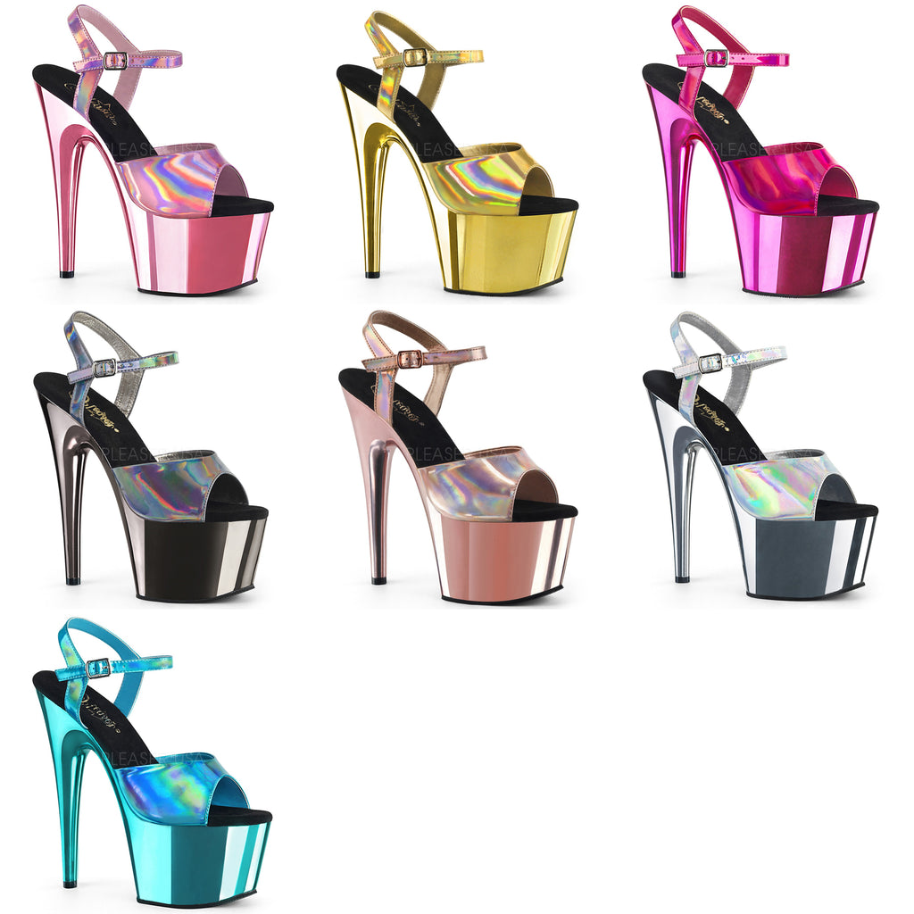 "PLEASER Adore-709HGCH Silver Hologram Chrome Sandals Club Platforms 7"" Heels - A Shoe Addiction"