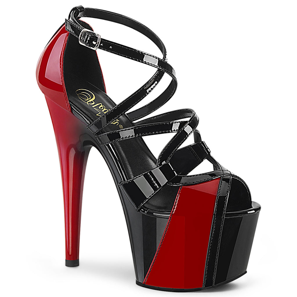 PLEASER Adore-764 Black Red Two Tone Criss Cross Straps Pole Club Platform Heels - A Shoe Addiction