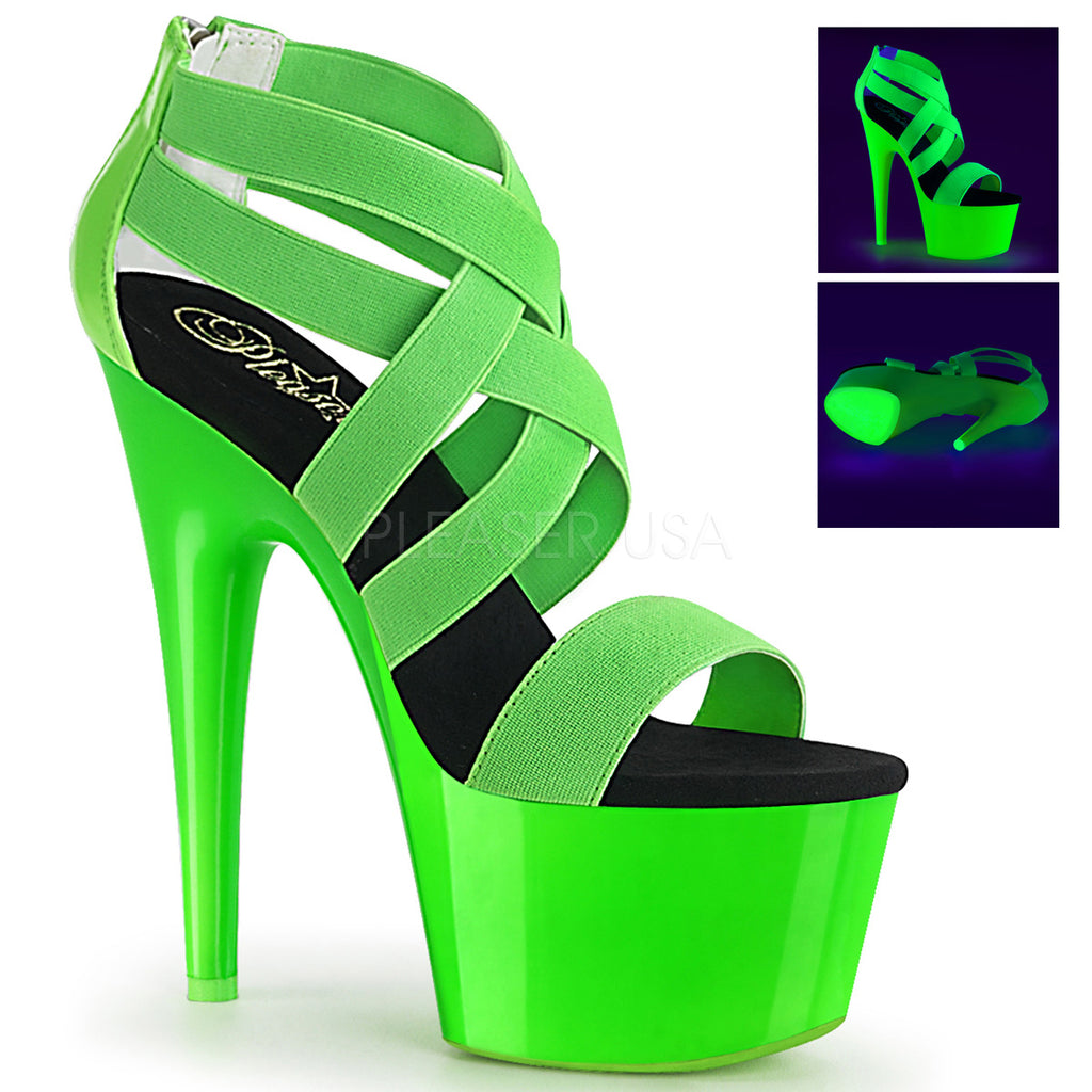 PLEASER Adore-769UV Neon Green Pink UV Blacklight Reactive Club Platforms Heels