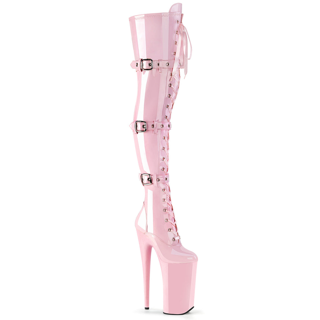 "PLEASER Beyond-3028 Extreme Fetish 10"" Inch High Heel Buckle Platform Thigh Boot - A Shoe Addiction"