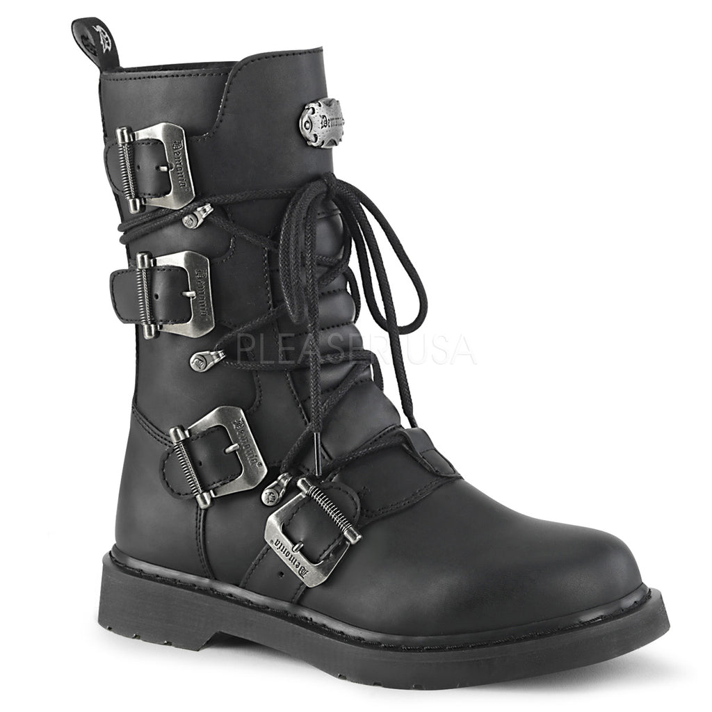 DEMONIA Bolt-265 Vegan Leather Mens Unisex Goth Rocker Biker Combat Boots - A Shoe Addiction