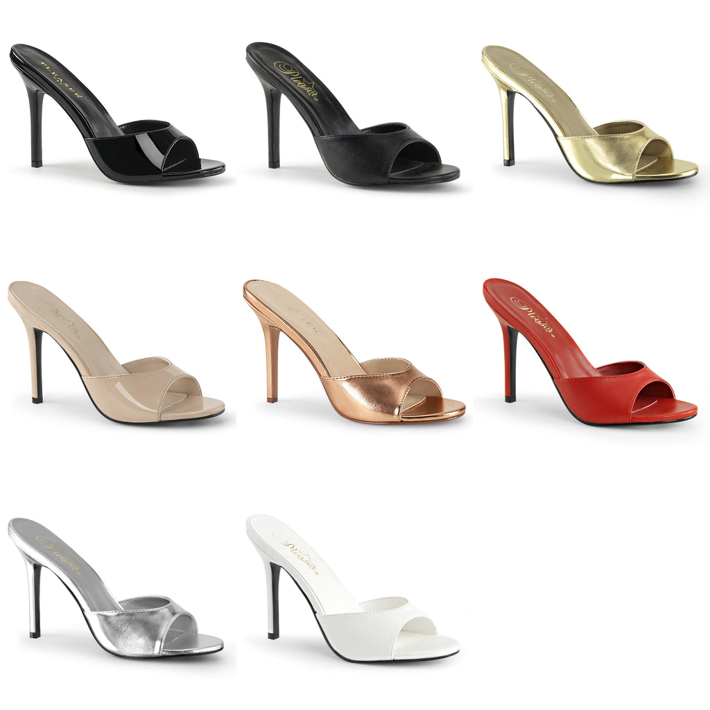 "PLEASER Classique-01 Slides Mules 4"" Heels Drag Plus Large Women's Sizes 4-15 - A Shoe Addiction"